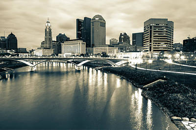 Photograph - Contrasting Columbus Ohio In Sepia - Night Skyline Photography by Gregory Ballos