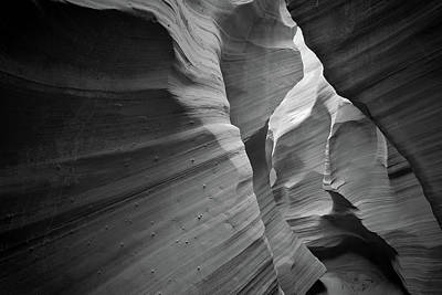 Photograph - Contrasting Textures Of Stone - Rattlesnake Canyon- Black And White by Gregory Ballos
