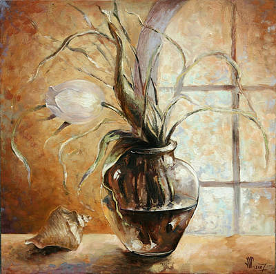 Glass Oil Dish Painting - Contre Jour by Vali Irina Ciobanu
