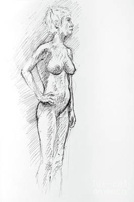Drawing - Controposto A Pen And Ink Drawing Of Female Nude by Adam Long