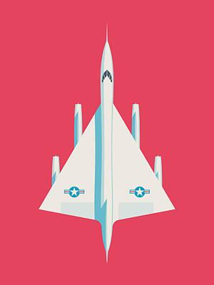 Air Force Poster Digital Art - Convair B-58 Hustler Us Air Force Supersonic Jet Bomber - Crimson by Ivan Krpan