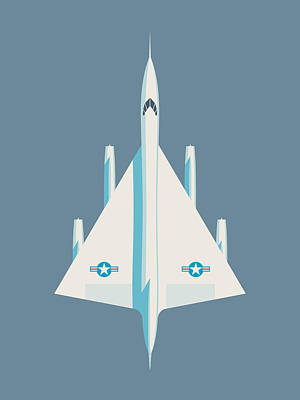 Air Force Poster Digital Art - Convair B-58 Hustler Us Air Force Supersonic Jet Bomber - Slate by Ivan Krpan