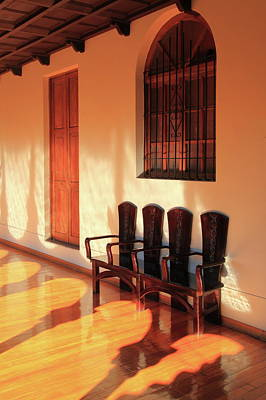 Photograph - Convent Hallway Bench by Roupen  Baker