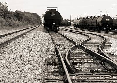 Bullheaded Photograph - Converging Train Tracks by Dan Sproul