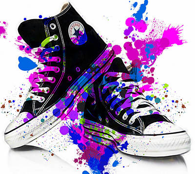 Athletic Mixed Media - Convers All Stars by Marvin Blaine