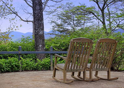 Empty Chairs Photograph - A Conversation Between Trees And Two Wooden Rocking Chairs by Katharine Hanna