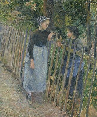 Conversation Print by Camille Pissarro