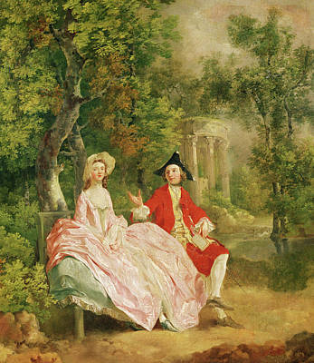 Conversation In A Park Art Print by Thomas Gainsborough