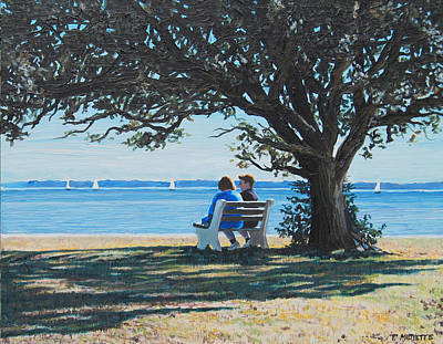 Conversation In The Park Art Print