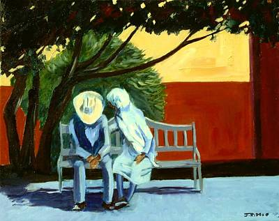 Painting - Conversation On A Park Bench by Jack Riddle