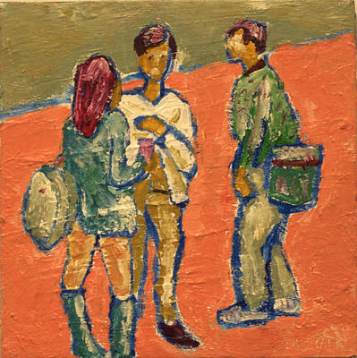 Print featuring the painting Conversation On Campus by Clarence Major