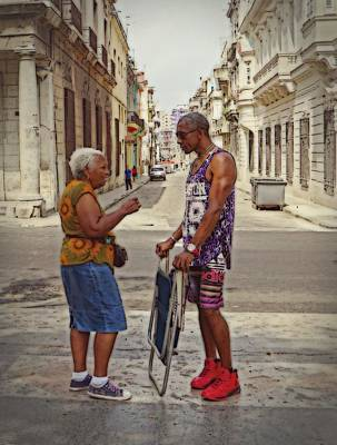 Conversation On The Prado, Havana Art Print by Cheryl Kurman