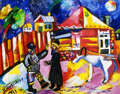 Roussimoff Wall Art - Painting - Conversation Under The Moon by Ari Roussimoff