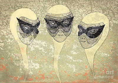 Drawing - Conversation With Masks by Nareeta Martin