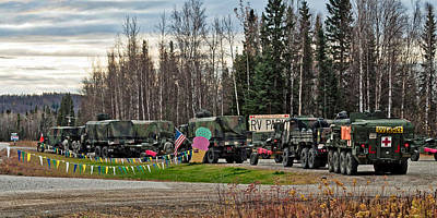 Olive Drab Photograph - Convoy by Cathy Mahnke