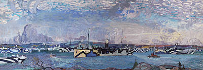 Painting - Convoy In Bedford Basin by Arthur Lismer