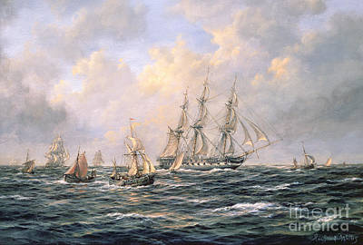 Sailboat Ocean Painting - Convoy Of East Indiamen Amid Fishing Boats by Richard Willis