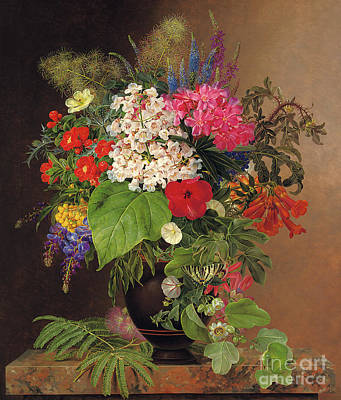 Marble Flower Vases Painting - Convulvulus, Lupins, Speedwell And Fuschia In A Vase by Johan Laurents Jensen