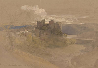 Landscape Drawing - Conway Castle by Samuel Palmer