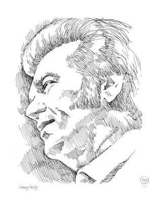 Musicians Drawings - Conway Twitty by Greg Joens
