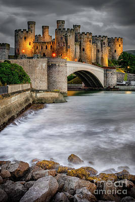 Photograph - Conwy Castle At Night by Adrian Evans