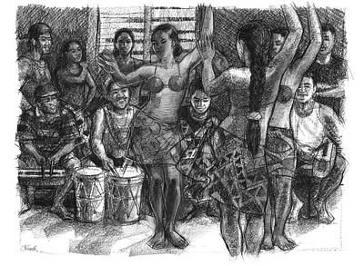 Drawing - Cook Islands Dance Team At Practice by Judith Kunzle