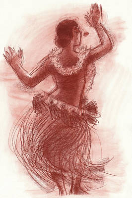 Drawing - Cook Islands Drum Dancer From The Back by Judith Kunzle