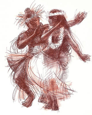 Drawing - Cook Islands Pas-de-deux by Judith Kunzle