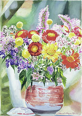 Painting - Cookie Jar Flowers by David Lloyd Glover