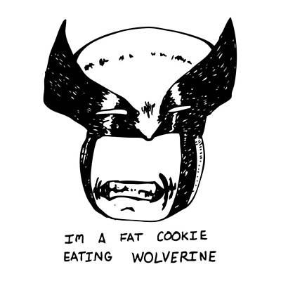 Wolverine Drawing - Cookie Loving Wolverine by Karl Addison