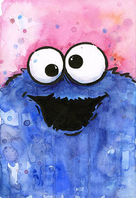 Cute Cartoon Painting - Cookie Monster by Olga Shvartsur