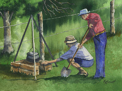 Grandfather Painting - Cookin Beans by Marsha Elliott