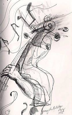 Bass Player Drawing - Cookin' Jazz Bass by Jamey Balester