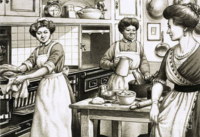 Cooking In Edwardian Times Art Print by Pat Nicolle