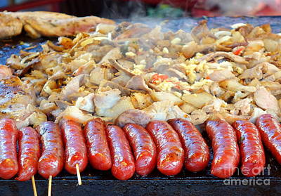 Photograph - Cooking Meat, Vegetables And Sausages On A Griddle by Yali Shi