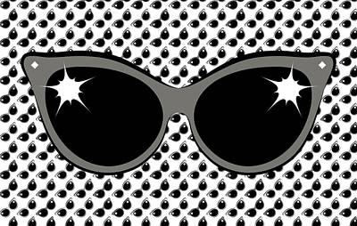 Digital Art - Cool 60's Sunglasses Grays by MM Anderson