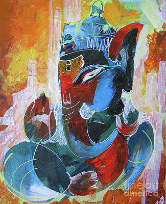 Folk Art Painting - Cool And Graphical Lord Ganesha by Chintaman Rudra