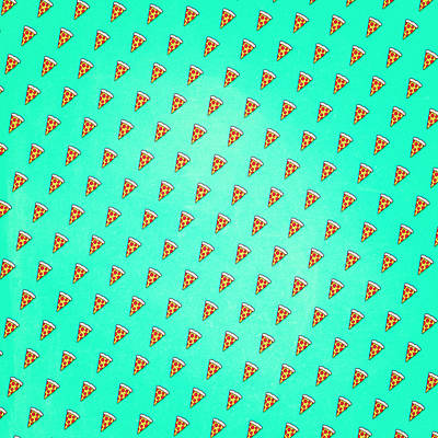 Cool And Trendy Pizza Pattern In Super Acid Green   Turquoise   Blue Print by Philipp Rietz