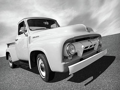 Photograph - Cool As Ice - 1954 Ford F-100 In Black And White by Gill Billington
