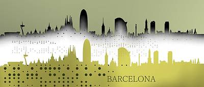 Barcelona Digital Art - Cool Barceona Skyline by Alberto RuiZ