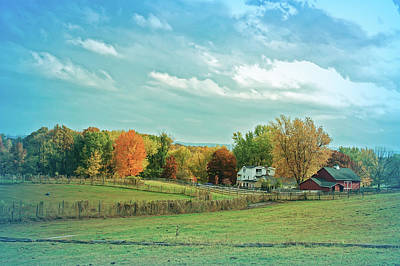 Photograph - Cool Blue Autumn Farm by Aimee L Maher Photography and Art Visit ALMGallerydotcom