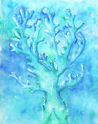 Art Print featuring the painting Cool Blue Coral by Arthur Fix