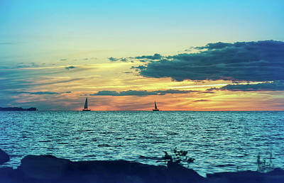 Seascapes Photograph - Cool Blue Distant Sailboats by Aimee L Maher Photography and Art Visit ALMGallerydotcom