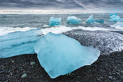 Photograph - Cool Blue Glacier Ice On Black Beach In Iceland by Matthias Hauser