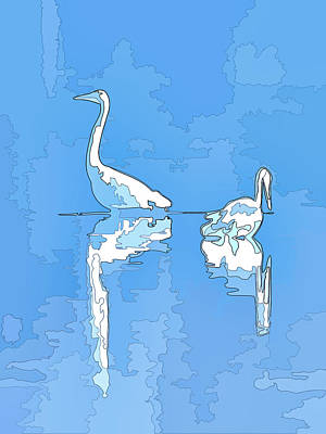 Photograph - Abstract Herons Cool Blue by Keith Boone