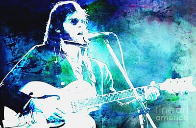 Neil Young Digital Art - Cool Blue Neil by John Malone