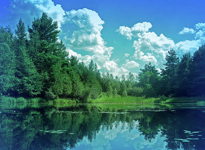 Photograph - Cool Blue Pond Reflections by Aimee L Maher ALM GALLERY