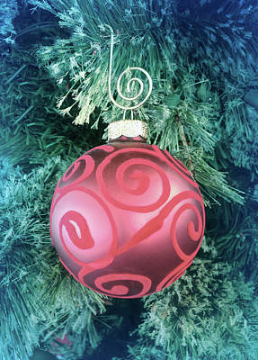 Photograph - Cool Blue Red Christmas Ornament by Aimee L Maher ALM GALLERY