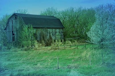 Photograph - Cool Blue Rustic Barn by Aimee L Maher ALM GALLERY