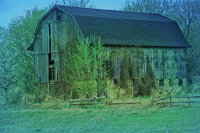 Photograph - Cool Blue Rustic Barn Close Up by Aimee L Maher ALM GALLERY